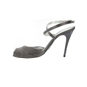 GIORGIO ARMANI Gunmetal Grey Satin Sandals